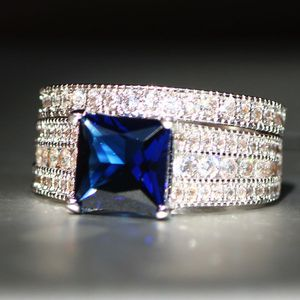 *NEW ARRIVAL* Beautiful 2 PC Sapphire Blue Engagement Wedding Rings Sizes 6 1/2 and 7 *See My Other 600 Items* for Sale in Palm Beach Gardens, FL