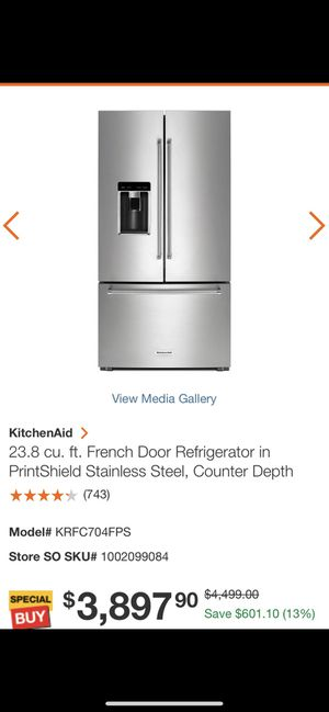 Kitchen Aid counter depth French door stainless steel refrigerator for Sale in Inkster, MI