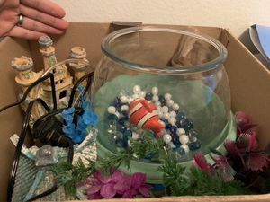Aquarium and decoration and bubble stone for Sale in Cypress, CA