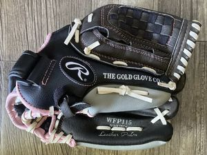 """RAWLINGS GIRLS FAST PITCH SOFTBALL GLOVE WFP115 11.5"""" BLACK & PINK LEATHER NICE! for Sale in Phoenix, AZ"""