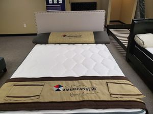 Zero down financing available full size beige upholstered bed with mattress and box spring. Free delivery for Sale in Grand Prairie, TX
