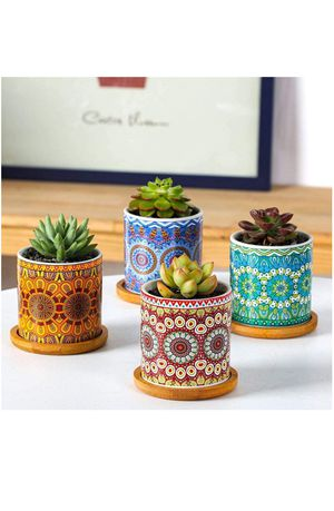 """Mandala Style Succulent Plant Pots, 3"""" Modern Cylinder Colorful Ceramic Planter for Cactus with Drainage Hole and Bamboo Trays, Set of 4 for Sale in Mesquite, TX"""