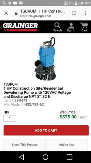 Brand New Tsurumi Sub Pump for Sale in New York, NY