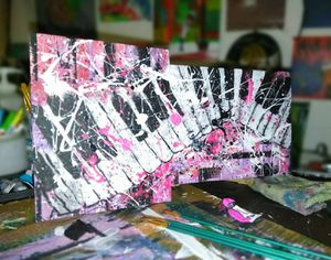 $50 Piano in pink abstract acrylic painting for Sale in Anaheim, CA
