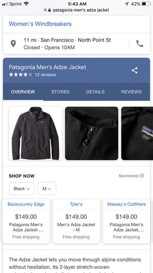 Brand new Patagonia Men's Adze Jacket (sportswear) for Sale in San Leandro, CA