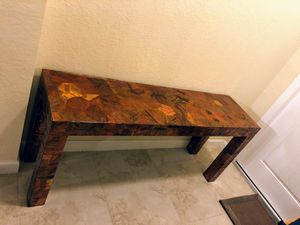 Mid-Century Modern Patchwork Metal Console Table in the Style of Paul Evans for Sale in Parkland, FL