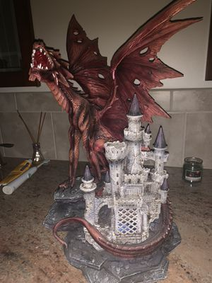"LARGE 20.5"" TALL Resin RED DRAGON LED nightlight. for Sale in Franklin, NJ"