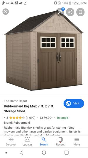 Rubbermaid Big Max 7ftX7ft Storage Shed. Brand new, unopened box. for Sale in Baldwin Park, CA