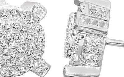 10K WHITE GOLD .56 CARAT MENS WOMENS 9mm 100% REAL DIAMONDS EARRINGS STUDS for Sale in East Providence,  RI