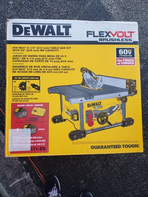 DEWALT FLEXVOLT 60-Volt MAX Lithium-Ion Cordless Brushless 8-1/4 in. Table Saw Kit with (2) FLEXVOLT Batteries & Charger for Sale in Pompano Beach, FL