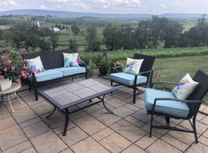 4 Piece Outdoor Set with Blue Cushions for Sale in Addison, TX