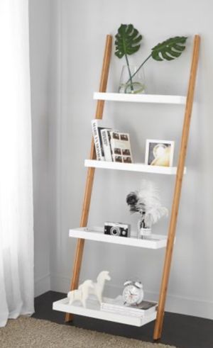New!! Bookcase, bookshelves, shelving display, organizer, storage unit, 5 shelves ladder bookcase, living room furniture, white for Sale in Phoenix, AZ