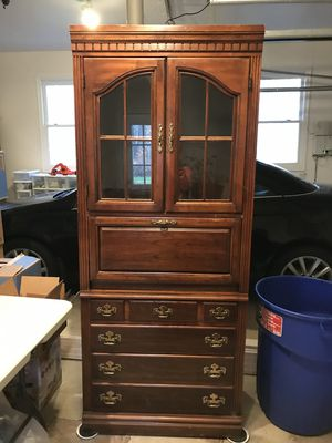 "China cabinet w/ inside light, 3 drawers. 76"" tall 32"" wide 18"" deep. Email any question. Pick up ASAP mendham NJ 07945. $250 or BEST HIGHEST OFFER for Sale in Mendham, NJ"