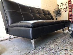 Leather Futon (Black w/white stitch) for Sale in Whittier, CA