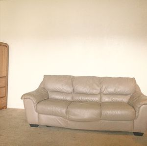(2 for 1 deal) 1. BLACK LEATHER LOVE + 2. KHAKI LEATHER COUCH, for Sale in Houston, TX