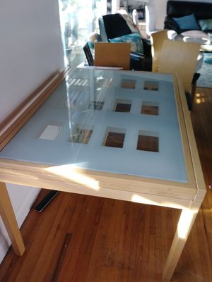 Modern beechwood and glass dining table and chairs for Sale in La Mirada, CA