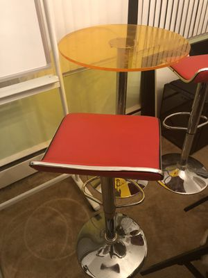 Adjustable Height Swivel Metal Bar Stools and an adjustable swivel table, transparent table as u can see. for Sale in Adelphi, MD