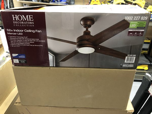 NEW Home Decorators Collection Mercer 52 in. LED Indoor Distressed Koa Ceiling Fan with Light Kit and Remote Control