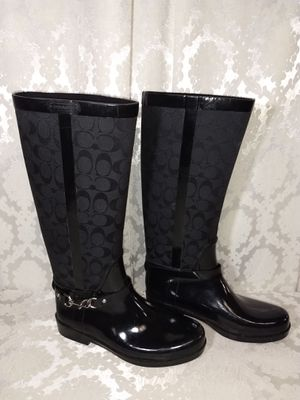 Coach Rain Boots fabric & Rubber Size 10 B for Sale in Las Vegas, NV