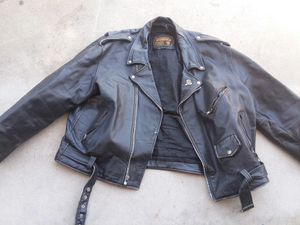 Buffalo leather motorcycle jacket size 56 for Sale in Fresno, CA