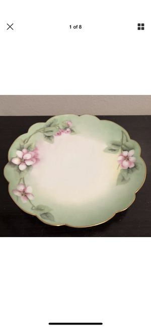 Used, T&V LIMOGES PLATE GREEN AND PINK FLOWERS, 14K GOLD TRIM, MADE IN FRANCE for Sale for sale  Brooklyn, NY