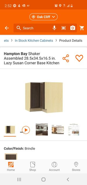 Hampton Bay Shaker Assembled 28.5x34.5x16.5 in. Lazy Susan Corner Base Kitchen Cabinet in Brindle for Sale in Dallas, TX
