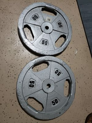2- 50 pound weight plates for Sale in Avondale, AZ