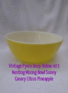 Vintage Pyrex Deep Yellow 403 Nesting Mixing Bowl Sunny Canary Citrus Pineapple for Sale in Daytona Beach, FL