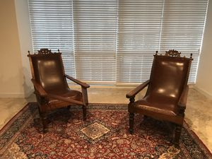 Vintage Indonesian Antique Plantation Swing Armrest Leather Hand Carved Chairs for Sale in Miami, FL