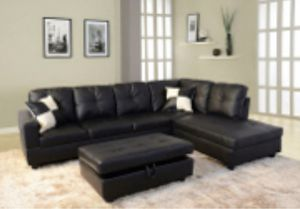Black, Sectional Couch with storage ottoman for Sale in Oakland, CA