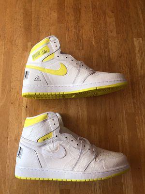 Brand new Nike air Jordan 1 retro high og first class flight shoes white yellow men's 12.5 for Sale in El Cajon, CA