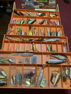 Big tackle fishing 🎣 box with full of fishing lures and hooks for Sale in Huntington Park, CA