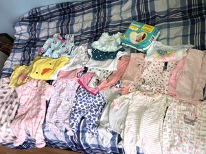 newborn clothes and clothes from 0 to 3 months 2 rocking chair and diaper package all include for Sale in Lindenwold, NJ