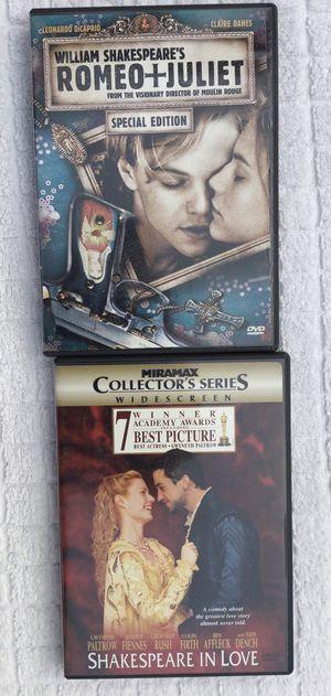Romeo + Juliet & Shakespeare In Love DVD Bundle for Sale in Fresno, CA