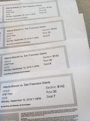 4 tickets Giants vs. Braves for Sale in Modesto, CA