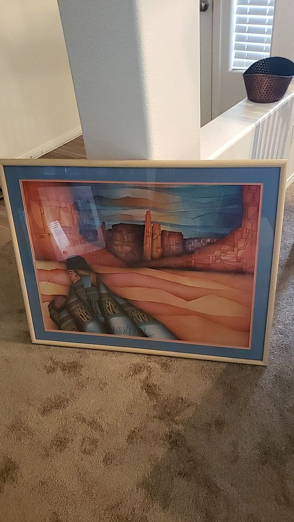 Native Print with frame 36.5X29""