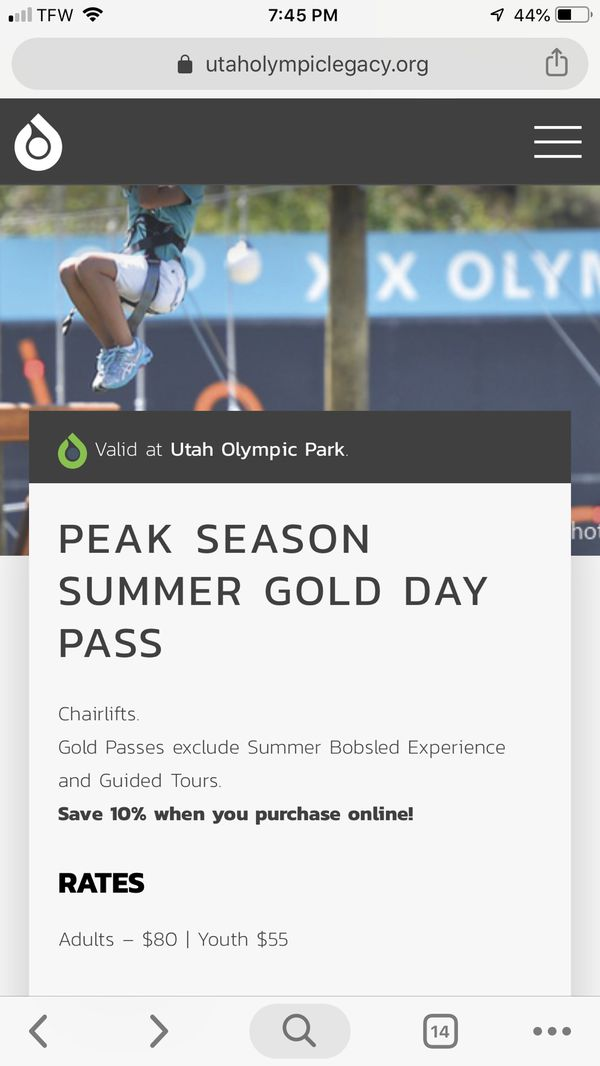 Utah Olympic Park Gold Pass Tickets $40/each