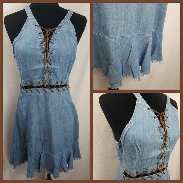 Denim style size large criss cross string dress