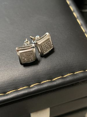 Diamond Earrings Hip Hop Style Sterling Silver and Real Diamonds. Worth over $400 Screw Backs for Sale in Corona, CA