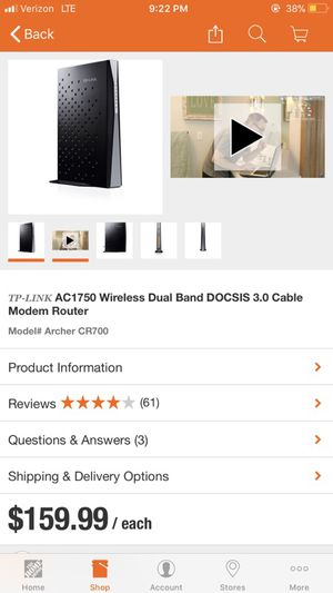 AC 1750 wireless dual band DOCSIS 3.0 cable modem router for Sale in Wellford, SC
