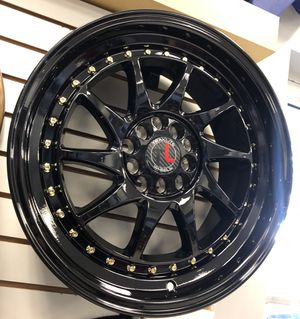 """SPECIAL PRICING! New 17"""" Traklite Turbo Rims Wheels Gloss Black Gold Rivets 5x4.5 Civic Accord for Sale in Tampa, FL"""