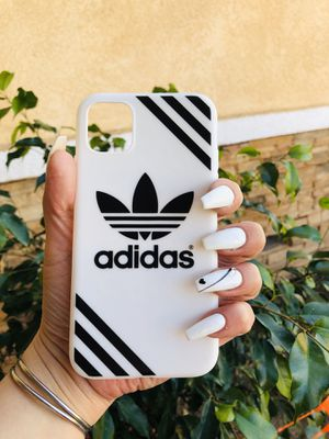 Brand new cool iphone 11 REGULAR case cover rubber ADIDAS BLACK AND WHITE mens guys hypebeast hypebae womens girls hype swag for Sale in San Bernardino, CA