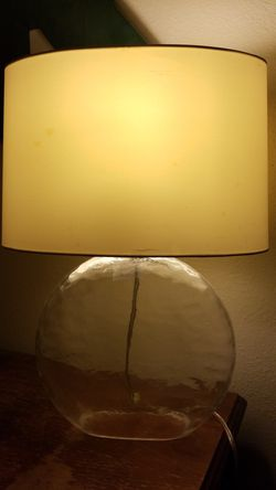 Hollow glass lamp with cream colored shade for Sale in Kent,  WA