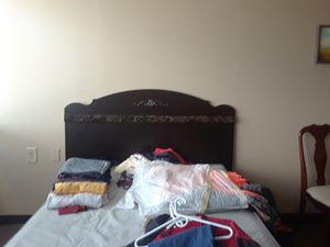 Queen size bedroom set dresser drawers nightstands mirror queen-size headboard bed rails the whole nine yards for Sale in Nashville, TN