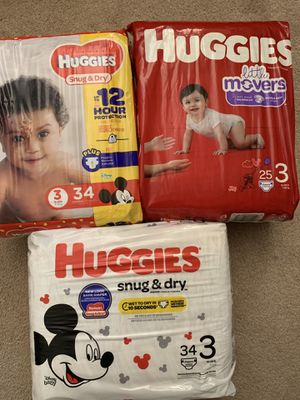 Huggies - Snug & Dry/Little Movers - size 3 for Sale in Fallbrook, CA