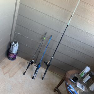 Fishing Rods And Reel For Sale 2 Bait caster And One Spinning Reel for Sale in Oklahoma City, OK