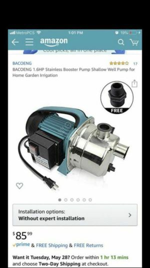 BACOENG 1.6HP Stainless Booster Pump Shallow Well Pump for Home Garden Irrigation for Sale in Santa Fe Springs, CA
