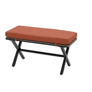 Hampton Bay Laguna Point Brown Steel Wood Top Outdoor Patio Bench with CushionGuard Quarry Red Cushions for Sale in Los Angeles, CA