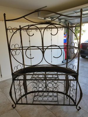 Bakers rack 4ft WX6ft H, 3 glass shelves and wine storage, 125. DLLS. OBO. for Sale in Las Vegas, NV