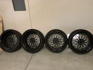 22 in Flat Black and Glossy Lip Rims w/ Falken Tires for Sale in Las Vegas, NV